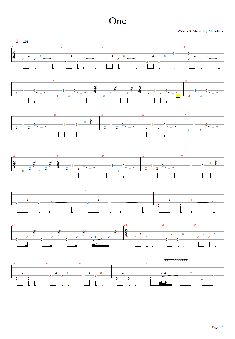 ONE Tab - Metallica | E-Chords